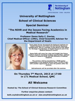 University of Nottingham School of Clinical Sciences Special Seminar