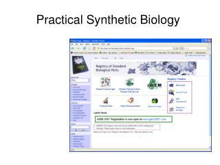 Practical Synthetic Biology