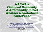 NACWA s Financial Capability  Affordability in Wet Weather Negotiations WhitePaper