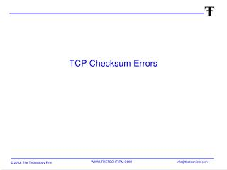 TCP Checksum Errors