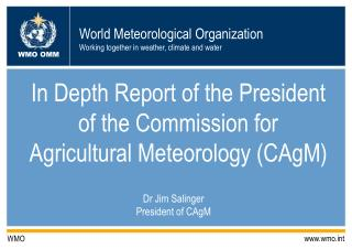 In Depth Report of the President of the Commission for Agricultural Meteorology (CAgM)