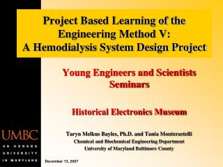 Project Based Learning of the Engineering Method V:    A Hemodialysis System Design Project