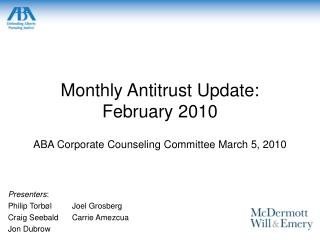 Monthly Antitrust Update: February 2010