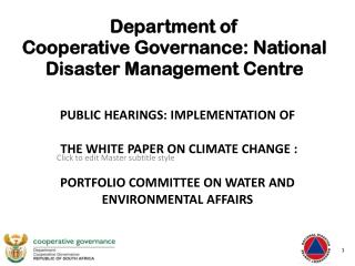 Department of  Cooperative Governance: National Disaster Management Centre