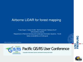 Airborne  LiDAR  for forest mapping