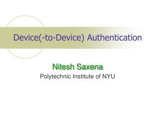 Device(-to-Device) Authentication