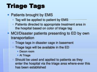 Triage Tags