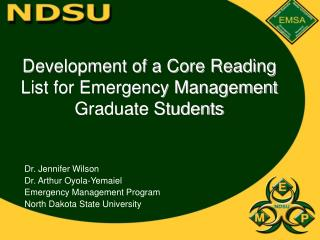 Development of a Core Reading List for Emergency Management Graduate Students