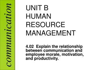 UNIT B HUMAN RESOURCE MANAGEMENT
