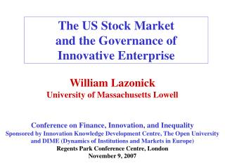 The US Stock Market  and the Governance of Innovative Enterprise
