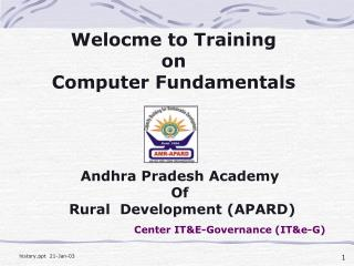 Welocme to Training  on  Computer Fundamentals
