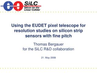 Using the EUDET pixel telescope for resolution studies on silicon strip sensors with fine pitch
