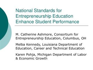 National Standards for Entrepreneurship Education Enhance Student Performance