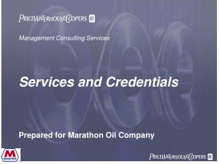Management Consulting Services Services and Credentials