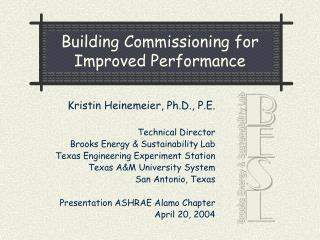 Building Commissioning for Improved Performance