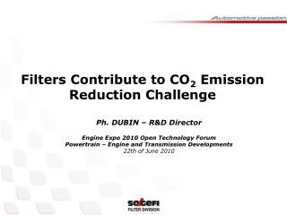 Filters Contribute to CO 2  Emission Reduction Challenge