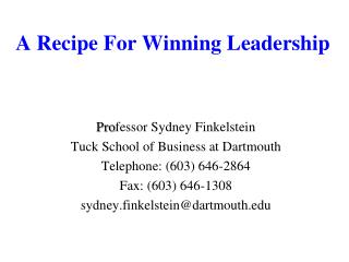 A Recipe For Winning Leadership