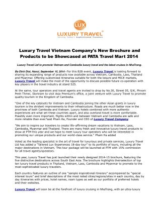 Luxury Travel Vietnam Company's New Brochure and Products to