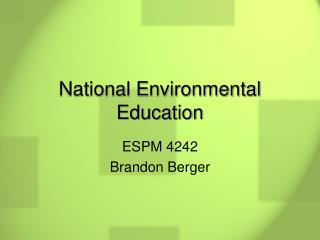 National Environmental Education