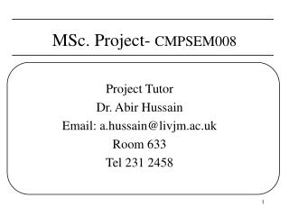 MSc. Project-  CMPSEM008