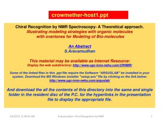 Chiral Recognition by NMR Spectroscopy- A Theoretical approach.