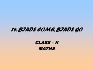 14. BIRDS COME, BIRDS GO