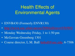 Health Effects of Environmental Agents