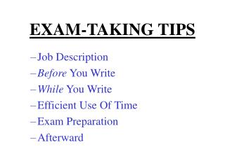 EXAM-TAKING TIPS