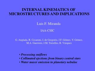 INTERNAL KINEMATICS OF  MICROSTRUCTURES AND IMPLICATIONS