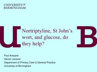 Nortriptyline, St John's wort, and glucose, do they help?