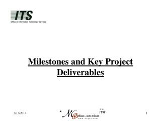 Milestones and Key Project Deliverables