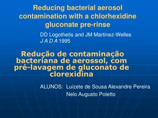 Reducing bacterial aerosol contamination with a chlorhexidine gluconate pre-rinse