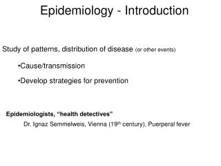 Epidemiology - Introduction
