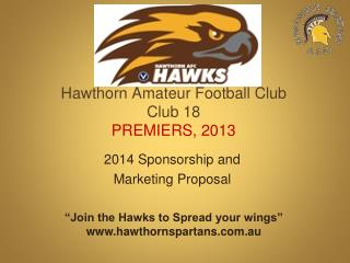 Hawthorn Amateur Football Club Club 18 PREMIERS, 2013
