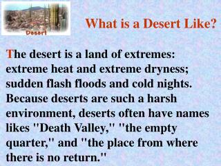 What is a Desert Like?
