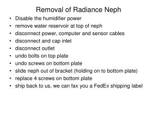 Removal of Radiance Neph