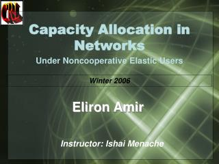 Capacity Allocation in Networks