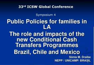 33 rd  ICSW Global Conference Symposium 4