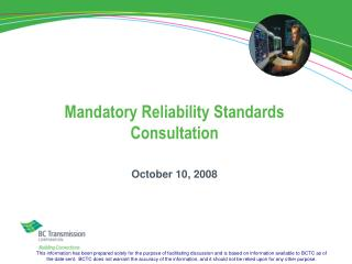 Mandatory Reliability Standards Consultation