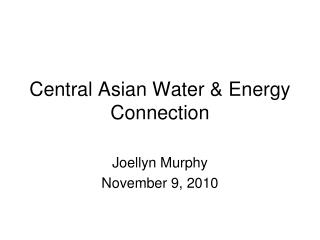 Central Asian Water & Energy Connection