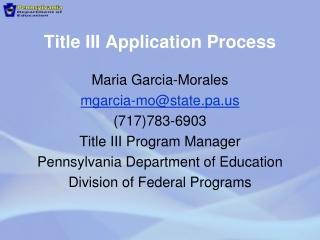 Title III Application Process