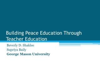 Building Peace Education Through Teacher Education