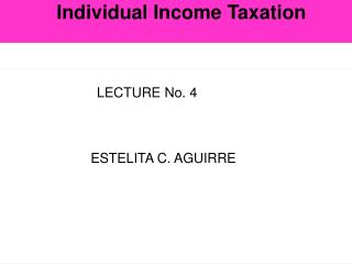 Individual Income Taxation