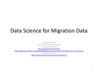 Data Science for Migration Data