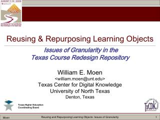 William E. Moen <william.moen@unt> Texas Center for Digital Knowledge