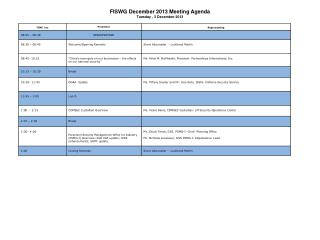 FISWG  December 2013 Meeting Agenda Tuesday , 3 December 2013