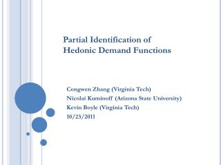 Partial Identification of  Hedonic Demand Functions