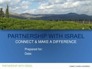 PARTNERSHIP WITH ISRAEL CONNECT & MAKE A DIFFERENCE