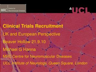 Clinical Trials Recruitment UK and European Perspective Beaver Hollow 21.9.10 Michael G Hanna