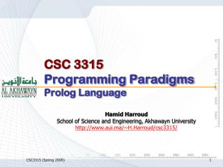 CSC 3315 Programming Paradigms Prolog Language